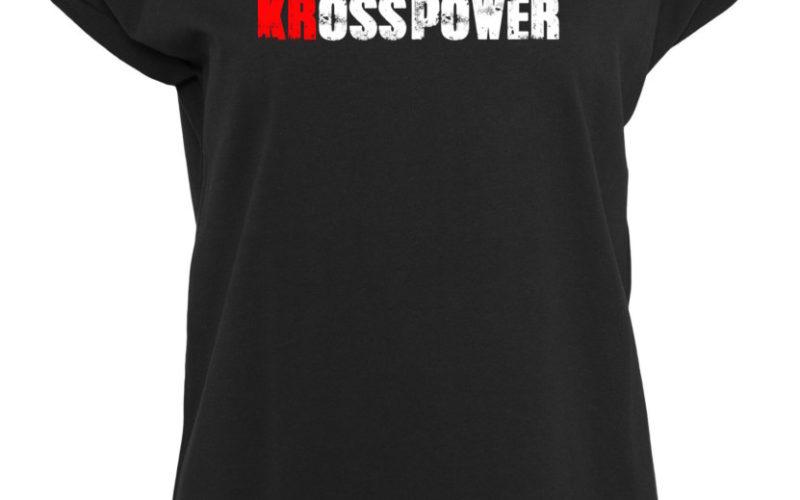 KRosspower Schriftzug Rundhals T-Shirt Damen