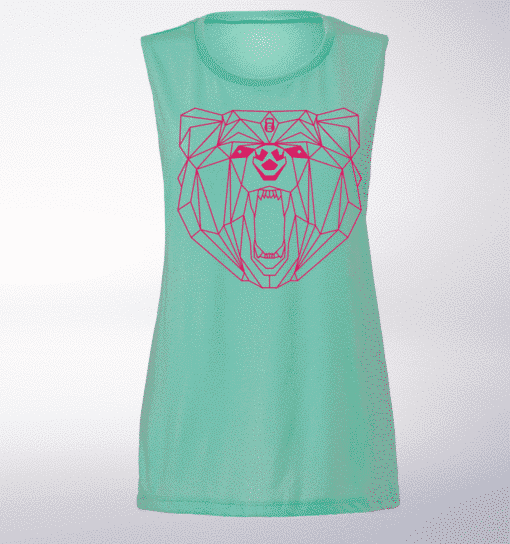 Pink Bärenkopf Girls Loose Muscle Tank Damen - Mint