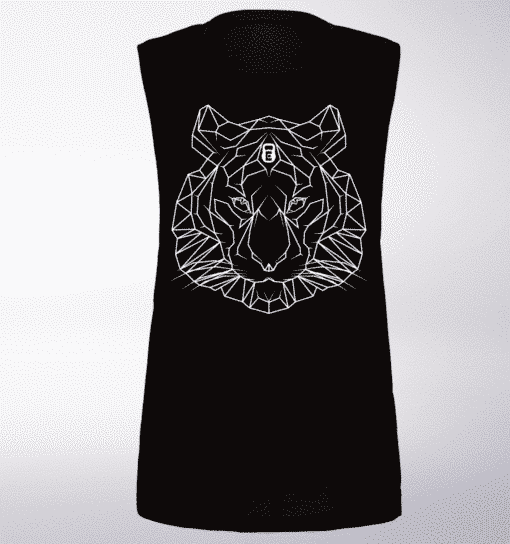 White  Tigerkopf Loose Muscle Tank Damen Black