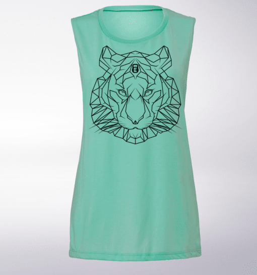 White Tigerkopf Loose Muscle Tank Damen - Mint