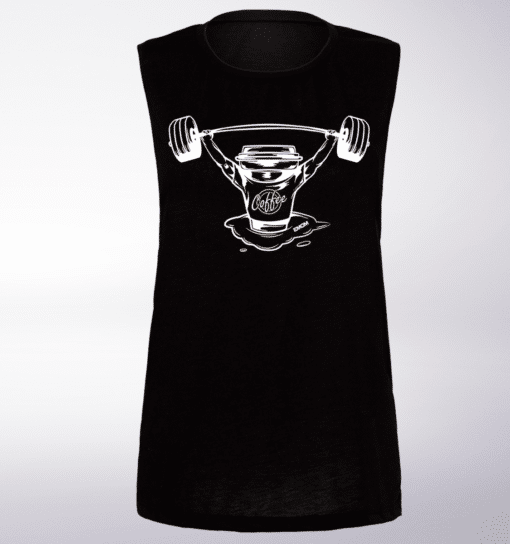 White Barbell&Coffee Loose Muscle Tank - Black