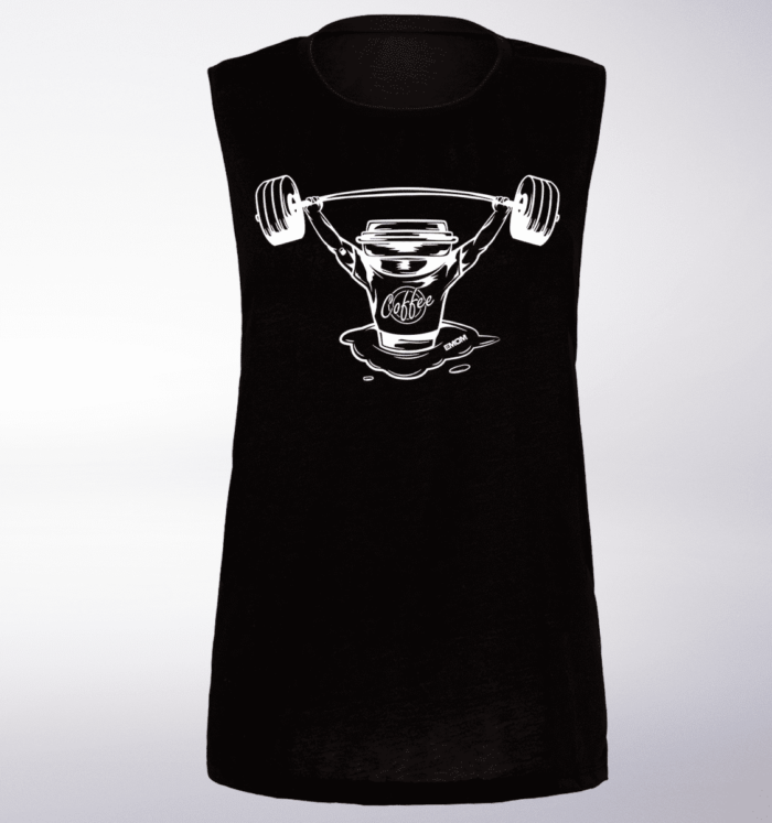 White Barbell&Coffee Loose Muscle Tank - Black 1