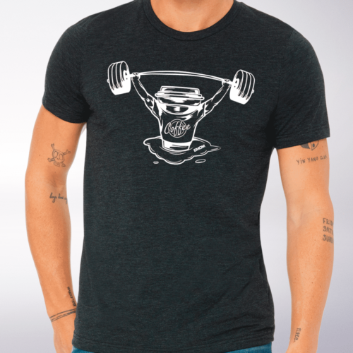 White Barbell & Coffee T-Shirt Herren Shirt - Dunkelgrau 4