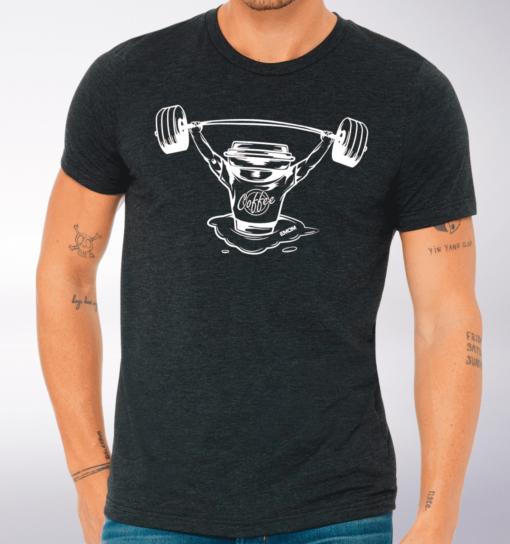 White Barbell & Coffee T-Shirt Herren Shirt - Dunkelgrau