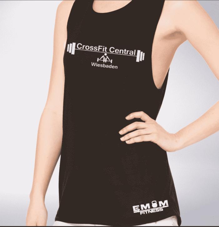 Crossfit® Central Wiesbaden Loose MuscleTank für Damen – Logo 1