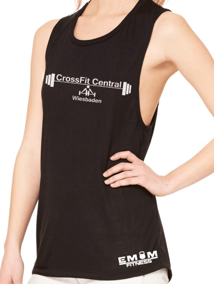 Crossfit® Central Wiesbaden Loose MuscleTank für Damen – Logo & Coach 2