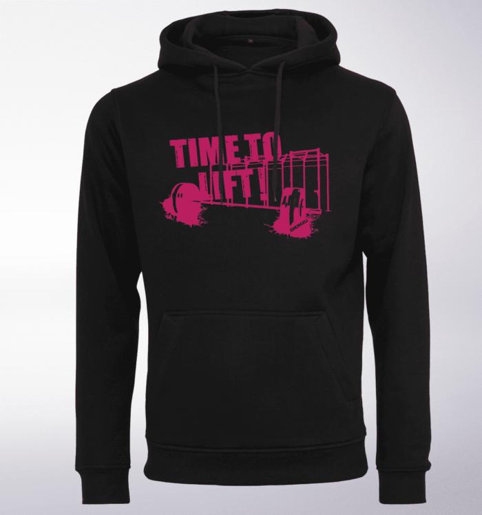 Pink - Time to Lift! Logo Unisex- PremiumHoody - Schwarz 1