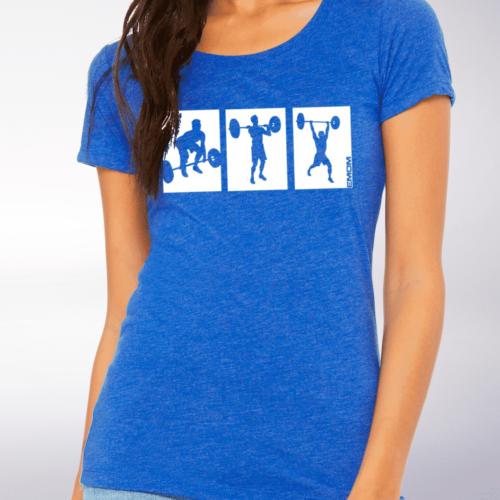 White - 3-Kasten CleanJerk Damen-Shirt - Blau 4