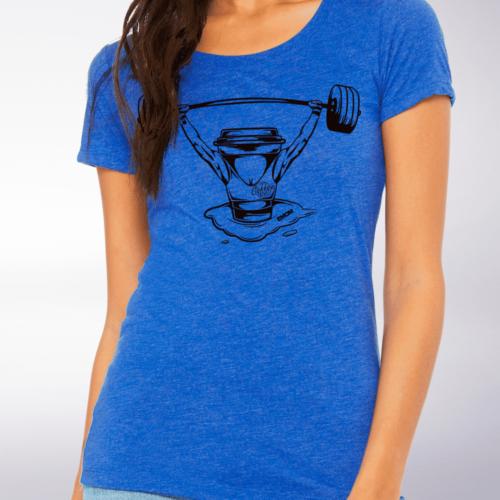 Black - Barbell & Coffee Lady Damen-Shirt - Blau 4