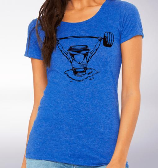 Black - Barbell & Coffee Lady Damen-Shirt - Blau 2