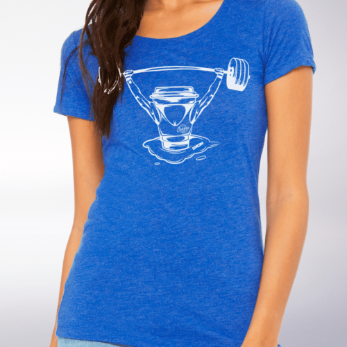 White - Barbell & Coffee Damen-Shirt - Blau 4