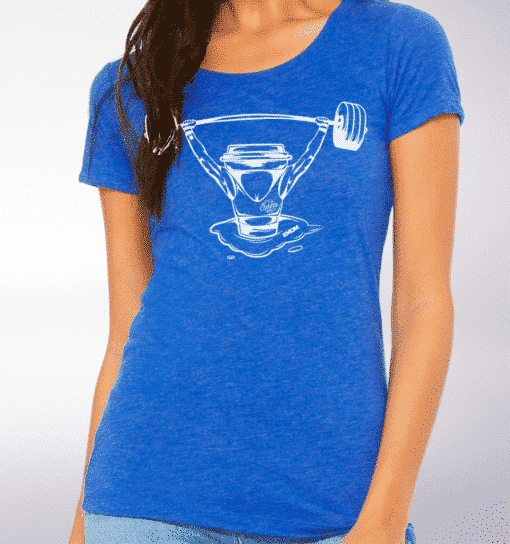 White - Barbell & Coffee Damen-Shirt - Blau 2