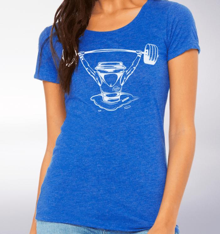 White - Barbell & Coffee Damen-Shirt - Blau 2