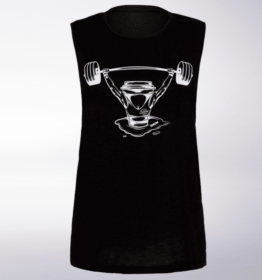White Barbell&Coffee Lady Loose Muscle Tank - Black