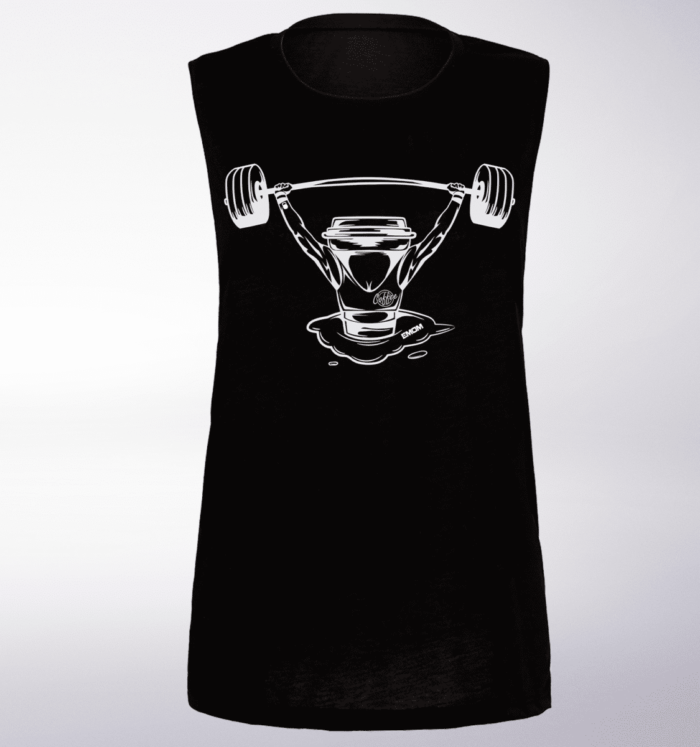 White Barbell&Coffee Lady Loose Muscle Tank - Black 1