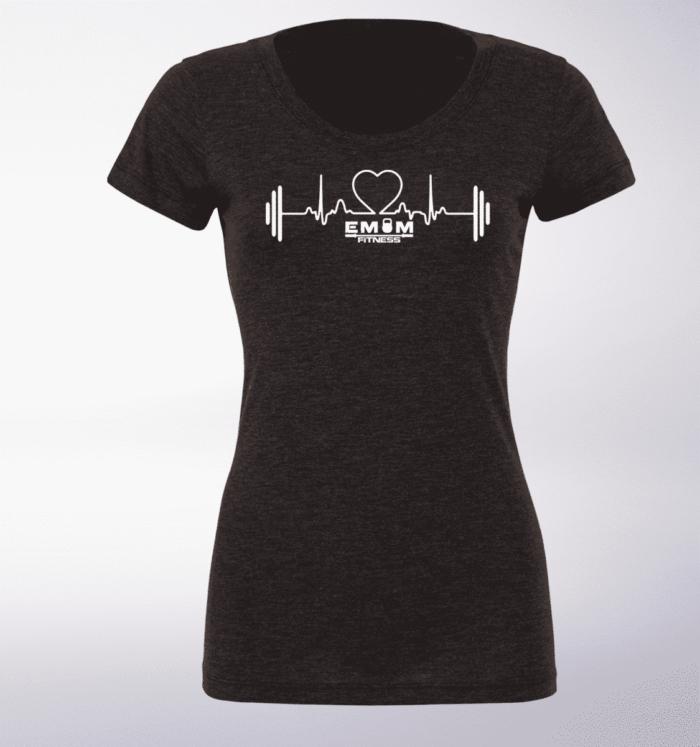 White - Heartbeat Damen-Shirt - Dunkelgrau 1