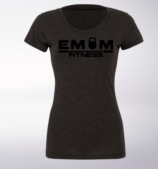 Black - EMOM Fitness Logo Damen-Shirt - Dunkelgrau