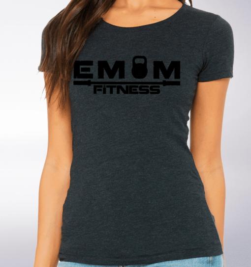Black - EMOM Fitness Logo Damen-Shirt - Dunkelgrau 2