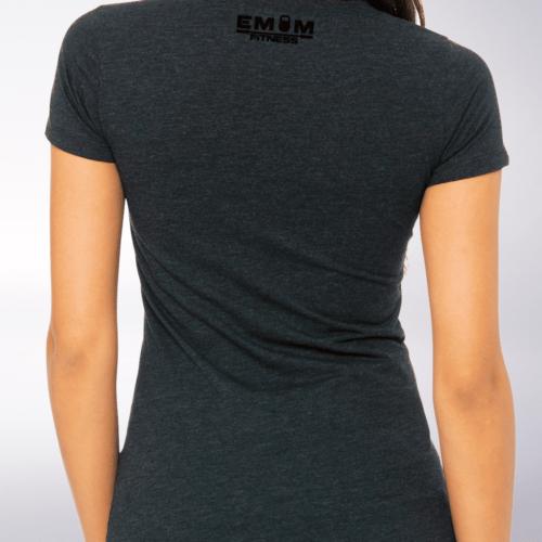Black - EMOM Fitness Logo Damen-Shirt - Dunkelgrau 5
