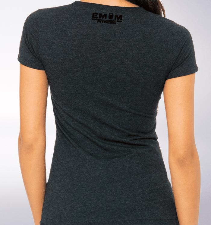 Black - EMOM Fitness Logo Damen-Shirt - Dunkelgrau 3