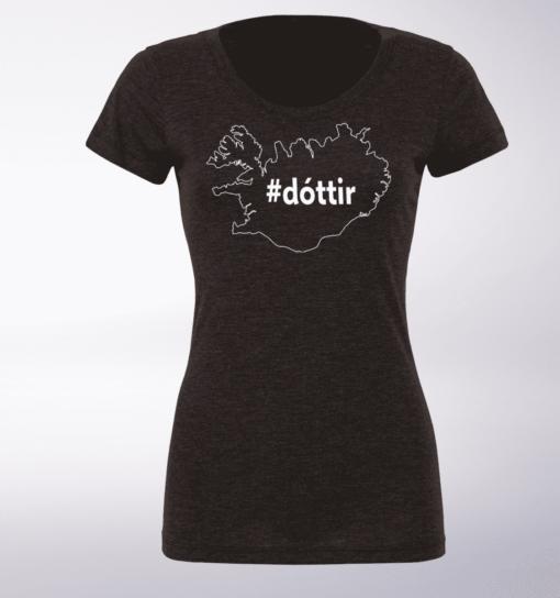 White - dottir ICELAND Damen-Shirt - Dunkelgrau