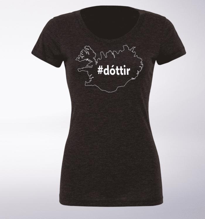 White - dottir ICELAND Damen-Shirt - Dunkelgrau 1
