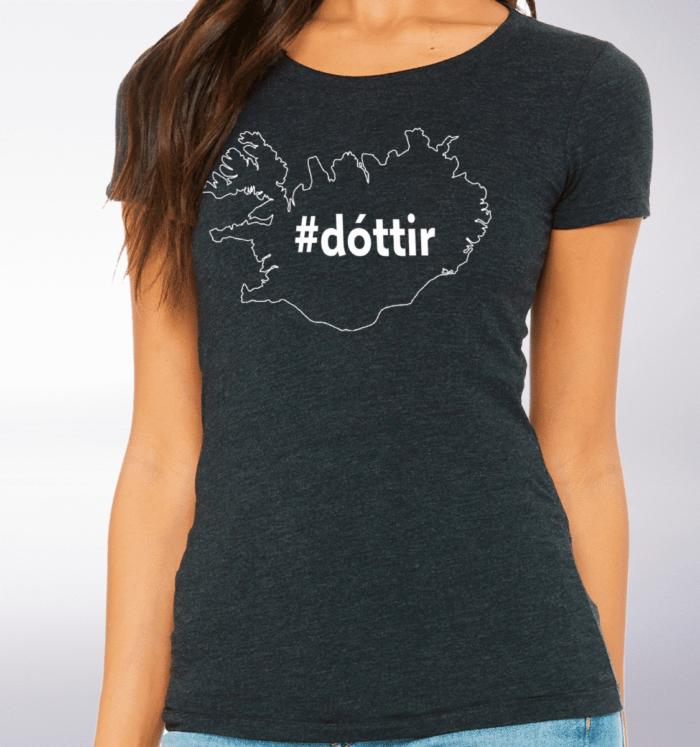White - dottir ICELAND Damen-Shirt - Dunkelgrau 2