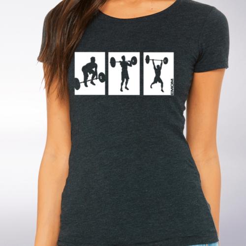White - 3-Kasten-Clean Damen-Shirt - Dunkelgrau 4