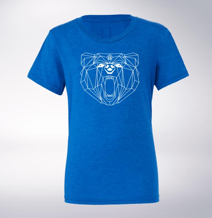 White Bärenkopf (vorne) T-Shirt Herren - Blau 1