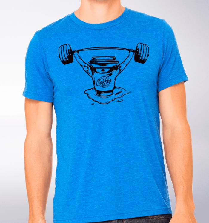 Black - Barbell & Coffee T-Shirt Herren Shirt - Blau 2