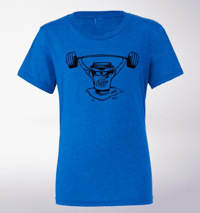 Black - Barbell & Coffee T-Shirt Herren Shirt - Blau 1