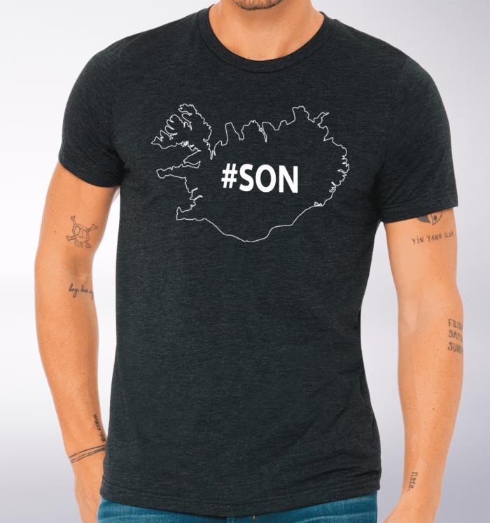 White - SON Iceland T-Shirt Herren - Dunkelgrau 2