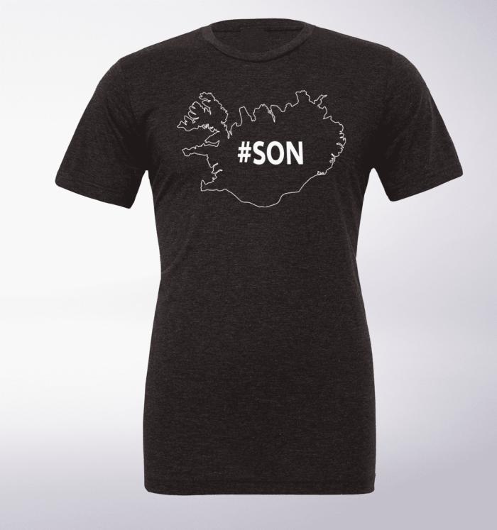 White - SON Iceland T-Shirt Herren - Dunkelgrau 1