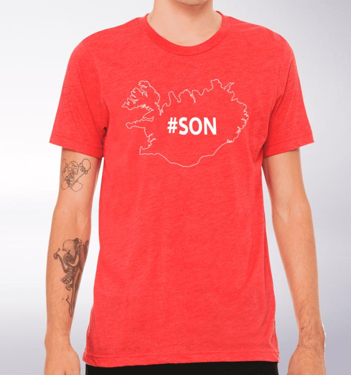 White - SON Iceland T-Shirt Herren - Rot 2