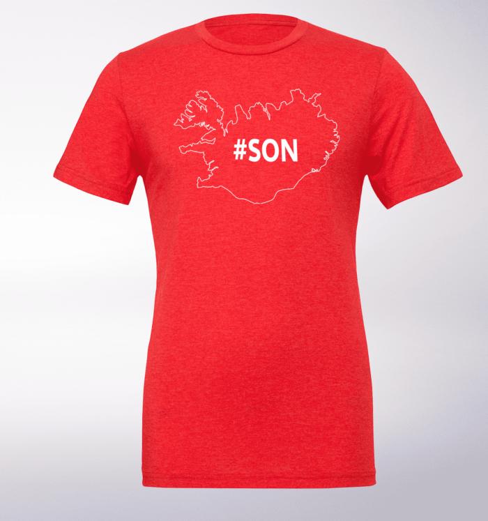 White - SON Iceland T-Shirt Herren - Rot 1