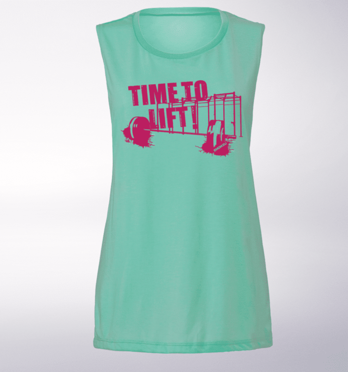 Pink Time to Lift! Loose Muscle Tank Damen - Mint 1