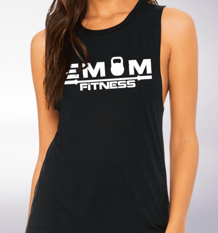White EMOM Fitness Loose Muscle Tank Damen - Black 2