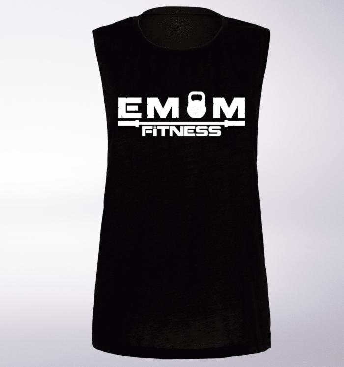 White EMOM Fitness Loose Muscle Tank Damen - Black 1
