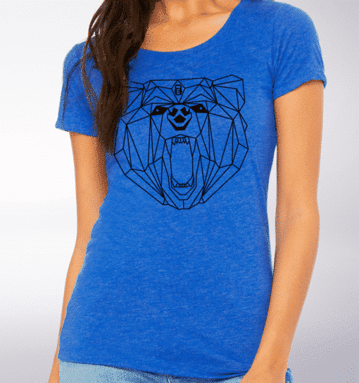 Black - Spirit Animal Bär Damen-Shirt - Blau 2