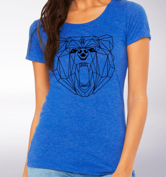 Black - Spirit Animal Bär Damen-Shirt - Blau 2