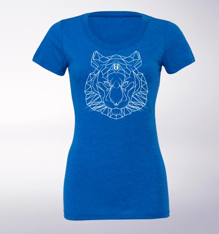 White - Spirit Animal Tiger Damen-Shirt - Blau 1