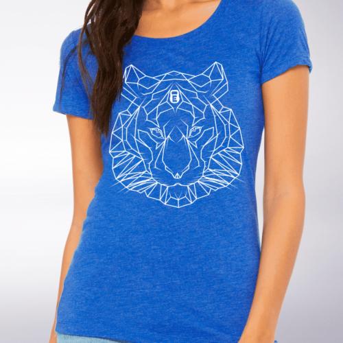 White - Spirit Animal Tiger Damen-Shirt - Blau 4