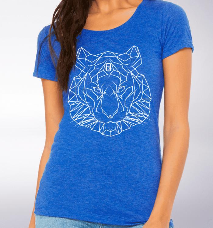 White - Spirit Animal Tiger Damen-Shirt - Blau 2