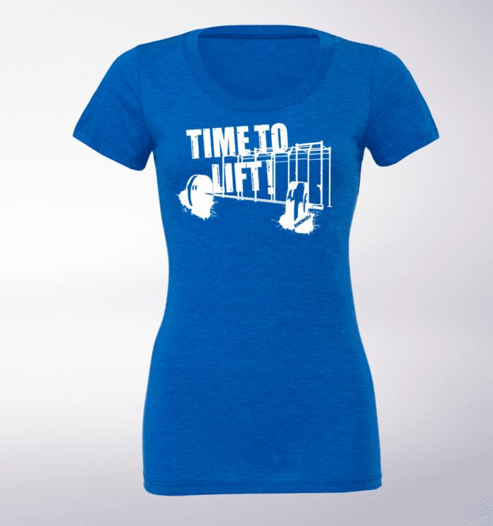 White - Time to Lift! Damen-Shirt - Blau 1
