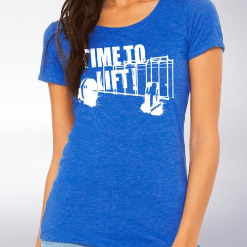 White - Time to Lift! Damen-Shirt - Blau 4