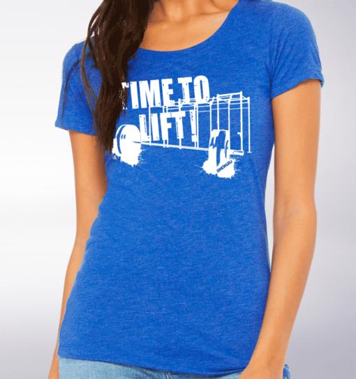 White - Time to Lift! Damen-Shirt - Blau