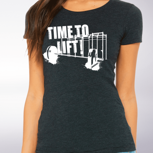 White - Time to Lift! Damen-Shirt - Dunkelgrau 4