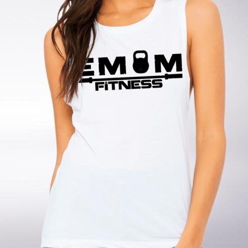 Black EMOM Fitness Loose Muscle Tank Damen - White 4