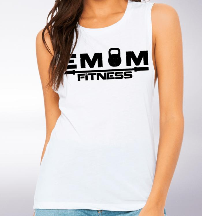 Black EMOM Fitness Loose Muscle Tank Damen - White 2