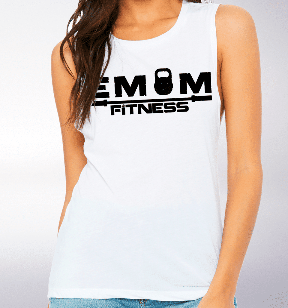 Black EMOM Fitness Loose Muscle Tank Damen - White
